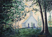 Tennessee Paintings - Church at Cades Cove by Todd A Blanchard