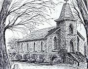Church Drawings Originals - Church at Port Maitland by Terence John Cleary