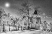 Kitchen Art Photographs Prints - Church At The End Of The Lane Print by C Wayne Hennebert