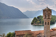 Lago Di Como Framed Prints - church at the Lake Como Framed Print by Joana Kruse
