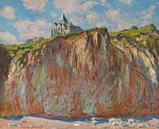 Ocean Cliff Prints - Church at Varengeville Morning Effect Print by Claude Monet