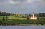 Viniculture Posters - Church Birnau Lake Constance in great landscape Poster by Matthias Hauser