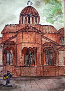 Greece Watercolor Paintings - Church in Athens by Shwetha Rajeev