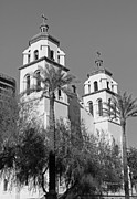 Black And White Religious Art Posters - Church in Downtown Phoenix in Black and White Poster by Suzanne Gaff