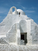 Stucco Posters - Church in Mykonos Poster by Sandra Bronstein