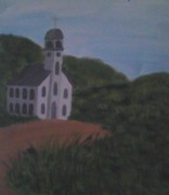 On Canvas Paintings - Church In Open Feild by Casandra Birdsong