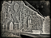 Building Digital Art Originals - Church in the Night by Jessica Grandall
