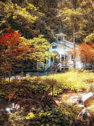 Gatlinburg Tennessee Digital Art Posters - Church in the Woods Poster by Gina Cormier