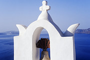 Thira Framed Prints - Church in Town of Thira Santorini Framed Print by Jeremy Woodhouse