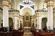 Benches Photo Prints - Church interior in Puerto Vallarta Print by Elena Elisseeva