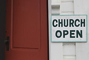 Protestantism Prints - Church Is Open Sign. Oysterville Print by Douglas Orton