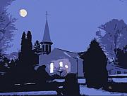 Snow Scene Prints - Church Print by Jim Wright