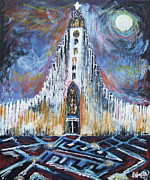 Iconic Paintings - Church of Hallgrimus by Laura Hol Art