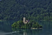 Slovenia Photos - Church of Mary on Bled Island by Don Wolf