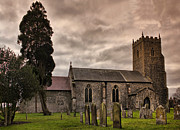 E Black Framed Prints - Church of St Mary Tharston Norfolk England Framed Print by Darren Burroughs
