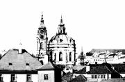 Prague Digital Art Prints - Church of St Nikolas Print by Michal Boubin
