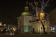 Krakow Originals - Church of St Wojciech Main Market Krakow by night by Magdalena Warmuz-Dent