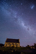 Shepherd Island Posters - Church of The Good Shepherd and The Milky Way Poster by Shay Yacobinski
