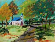 New England. Pastels Prints - Church on the Bend landscape Print by John  Williams