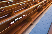 Cushion Metal Prints - Church Pews Metal Print by Bryan Mullennix