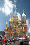 Onion Domes Photos - church St. Petersburg Russia by Marie Morrisroe