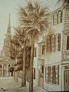 Charleston Houses Paintings - Church St. View by Osee Koger