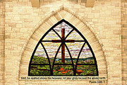 Beige Glass Framed Prints - Church Stained Glass Window Framed Print by Linda Phelps
