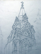Spire Drawings Posters - Church Steaple Poster by Robert May