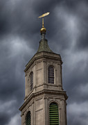 Weathervane Prints - Church Steeple and Storm Clouds Print by Robert Ullmann