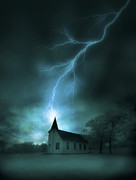 Thunderstorm Framed Prints - Church Struck by Lightning Framed Print by Jill Battaglia