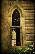 Antique Digital Art Prints - Church Window Church Bell Print by Lois Bryan