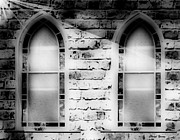 White Walls Framed Prints - Church Windows BW Framed Print by Cheryl Young