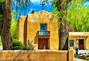 Taos Prints - Church with Blue Door Print by Jeff Kolker
