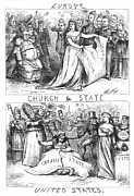Anti-discrimination Metal Prints - Church/state Cartoon, 1870 Metal Print by Granger