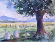 Headstones Paintings - Churchyard Severn Stoke by Susan Ryder