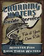 Lure Painting Posters - Churning Waters Guide Service Poster by JQ Licensing