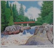 Fir Trees Drawings Prints - Chutes Croches Mt Tremblant Print by Wilfrid Barbier