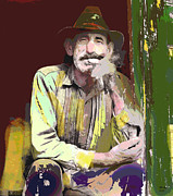 Cigar Mixed Media Prints - Cigar Smoker Print by Charles Shoup