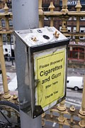 Bin Prints - Cigarette And Gum Bin, Manchester Print by Mark Williamson