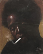 Black Art Pastels Prints - Cigarette Smoker Print by L Cooper