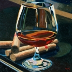 Red Wine Bottle Painting Posters - Cigars and Brandy Poster by Christopher Mize