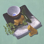 Sake Paintings - Cilantro and Garlic by Meredith Dytch