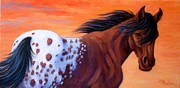 Blanket Prints - Cimarron Sunset Appaloosa Print by Theresa Paden
