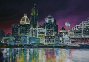 Cincinnati Paintings - Cincinnati Asleep by Michael Brown
