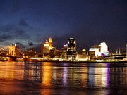 Cincinnati Painting Metal Prints - Cincinnati at Night Metal Print by Bradley Litz