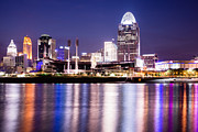 Ohio River Photos - Cincinnati at Night Downtown City Buildings by Paul Velgos