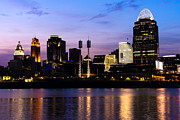 Ohio River Photos - Cincinnati at Night Downtown City Skyline by Paul Velgos