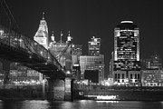Suspension Bridge Metal Prints - Cincinnati at Night Metal Print by Russell Todd