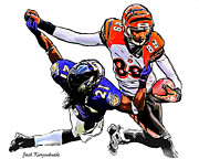 Cincinnati Digital Art Framed Prints - Cincinnati Bengals Jerome Simpson Baltimore Ravens Lardarius Webb Framed Print by Jack Kurzenknabe
