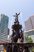 Businesses Photo Framed Prints - Cincinnati Fountain Tyler Davidson Genius of Water Framed Print by Paul Velgos